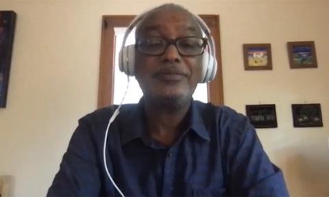 Ghirmai Negash, participating in a virtual lecture