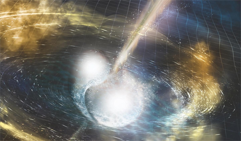 An artistic rendition of two neutron stars merging.