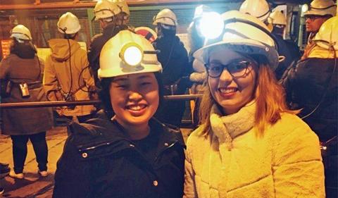 Alexis Karolin visiting a coal mine in Wales.