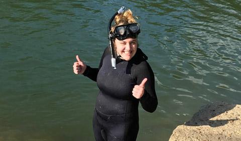 Meredith Fitschen-Brown, in diving gear