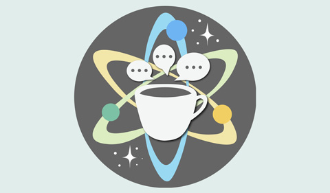 2020-21 Science Cafe logo--with coffee cup encircled by planet rotation tracks and stars