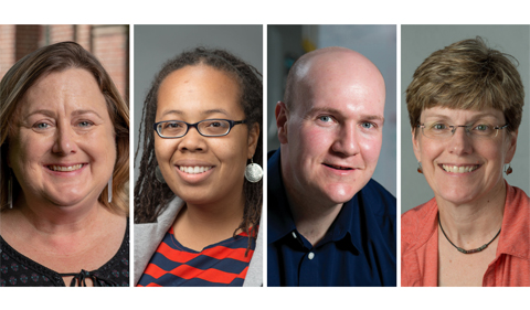 From left, Cynthia Anderson, Lisa Harrison, Jason Trembly and Morgan Vis were selected as this year's Mid-American Conference (MAC) Academic Leadership Development Program Fellows.