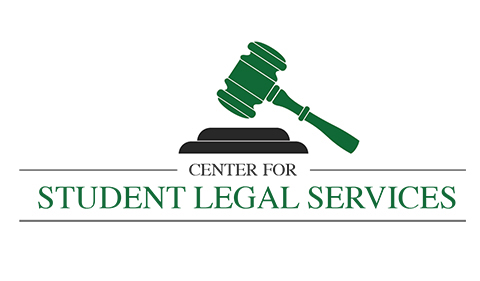 center for student legal services logo with gavel