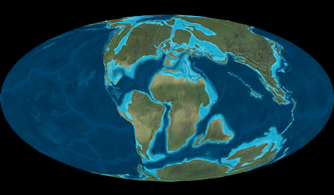 Plate positions at the end of the Cretaceous Period, the time of the mass extinction that wiped out the dinosaurs.