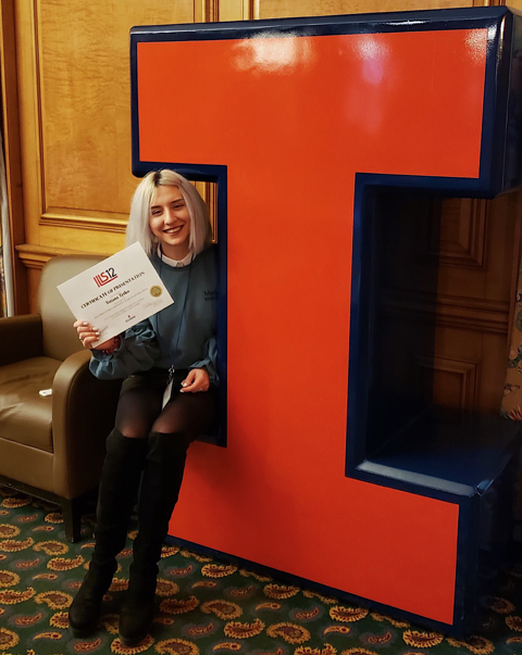 Tanya Tytko poses with the I at the University of Illinois.