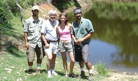 Damian Nance with graduate students Kyle Shalek (left), Kathryn Grodzicki (now MacWilliam) and Hector Hinojosa-Prieto in southern Mexico in 2005.
