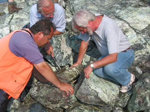 Damian with Turkish colleague Erdin Bozkurt examining a preserved section of the floor of the Rheic Ocean on the Lizard peninsula in Cornwall, UK, in 2005.