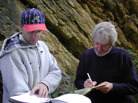 Damian Nance with Czech colleague Petr Kraft taking notes on the Rheic Ocean geology of the Prague Basin in the Czech Republic in 2002.