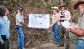 Damian with Universidad Nacional Autónoma de México colleague Duncan Keppie explaining the Acatlán Complex on an International Geoscience Programme fieldtrip in southern Mexico in 2012.