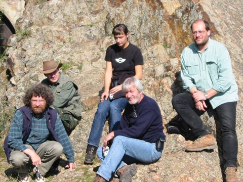 Damian with colleagues Brendan Murphy (left), Ulf Linnemann (right) and two of Ulf's doctoral students, examining rocks of the Rheic Ocean in the Prague Basin of the Czech Republic in 2002.