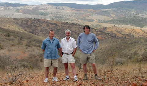 Damian with two former students, Dr. Brent Miller (Texas A&M) (left) and John Malone (Regional Operations VP, Key Energy Services) (right), revisiting the Acatlán Complex, Mexico, on a field trip in 2003.