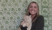 Katy Campbell and her cat, Zimmie