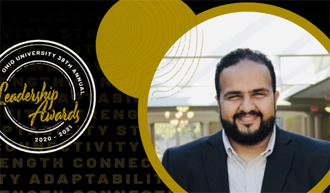 Majed Zailaee, with Leadership Awards logo