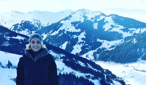 Michaela Trawick at Maria Alm in Austria, with mountains in background