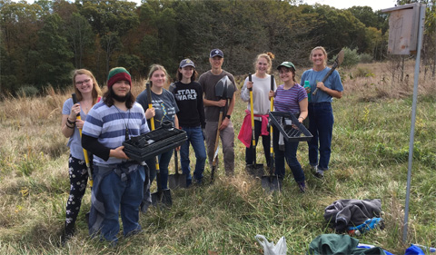 A group of OHIO students working on Radar Hill in 2019.