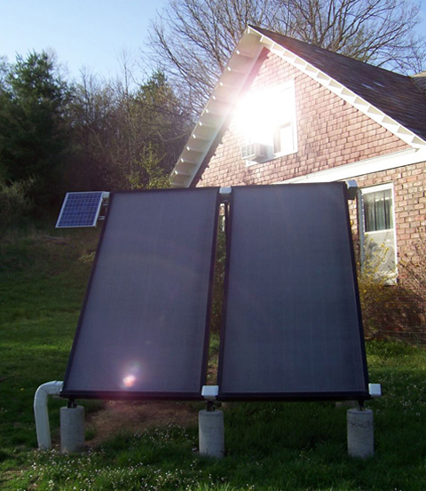 The Ecohouse Solar Heater catching some sun rays.