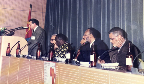 """One of the prominent intellectuals and writers in his country, Ghirmai Negash had a leading role at the """"Against all Odds Conference on African languages and literatures"""" in 2001 at Asmara, From right, Ghirmai Negash, Abdellatif Abdalla (Kenyan poet and professor at the University of Leipzing); Sheriff Hatata (Egyptian writer and writer; Nawal El Sadawi's spouse); Charles Cantalupo (poet and professor at Pennsylvania State University and organizer of the conference)."""
