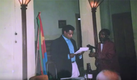 Ghirmai Negash delivers his Freedom of the Writer speech in 1992.