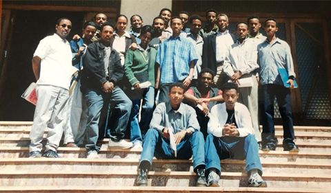 Ghirmai Negash with his class of journalism students at the University of Asmara, 2001-02. (He's standing in the back row, fourth from the right.)