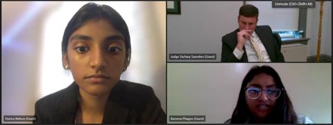 Teams screenshot: SLTI student Kareena Phagoo cross examines Kareena Phagoo as Judge Saunders presides