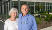 Joy and Bernard Kokenge, PHD '66, visit Ohio University's new Chemistry Building in July—60 years after the couple moved to Athens, where they started their family and Dr. Kokenge earned a doctoral degree in chemistry.