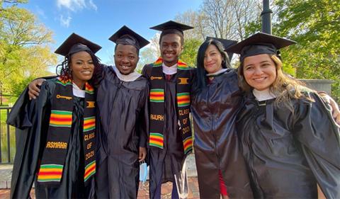 Graduating MA Applied Linguistics students (left to right): Asmaha Heddi, Edwin Dartey, Yaw Awuah, Sandra Peñuela, and Amy Khazaal.