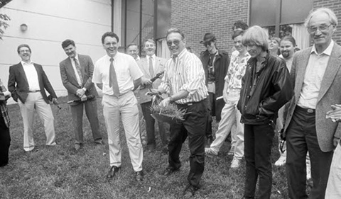 Groundbreaking in 1993 for an expansion to the Edwards Accelerator building, which would add a conference room, an undergraduate laboratory, an electronics shop, and office space.