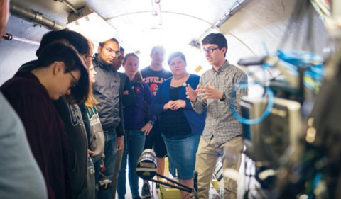 Dr. Zach Meisel gives a tunnel tour.