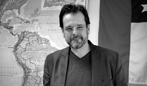 Patrick Barr-Melej, portrait with map of Chile