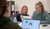 Ohio University students use the CoLab space in Alden Library. © Ohio University/ Photo by Benjamin Wirtz Siegel
